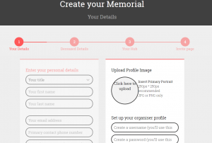 creating a memorial page for loved one